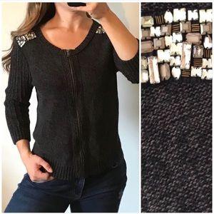 AEO Gray Chunky Jeweled Knit Sweater Jacket Large